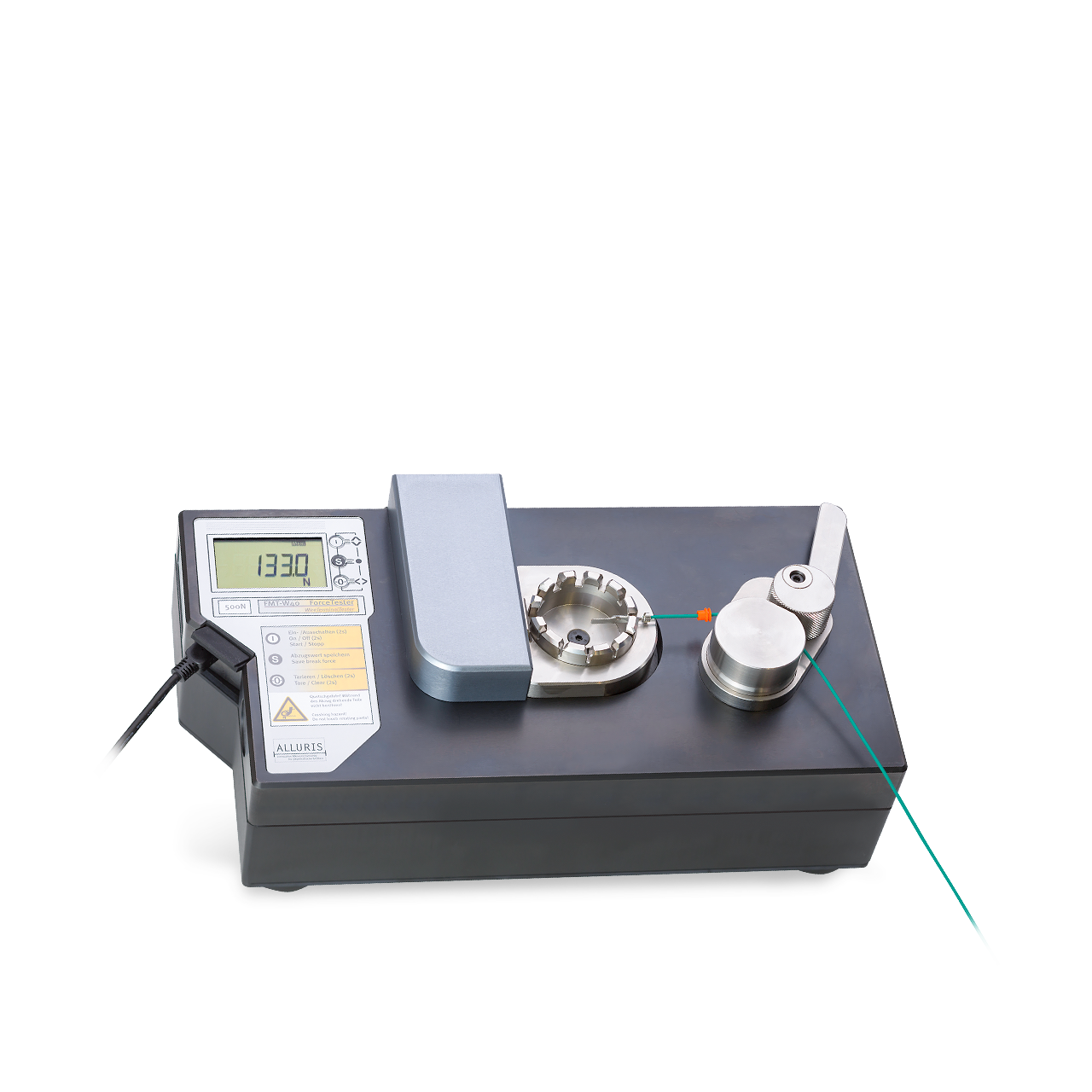 Product shot of wire crimp pull tester by Mecmesin's sister company, Alluris